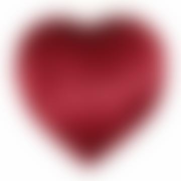 Crimson Faux Fur Heart Cushion