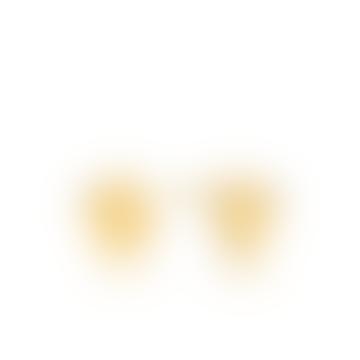 Gold Crush Disc Stud Earrings