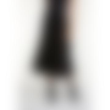 Black Knit Midi Pleated Skirt
