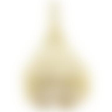 Beige and White Macrame Pendant Lamp