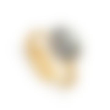 Gold and Silver Atomic Labradorite Stone Midi Adjustable Ring