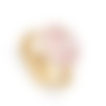 Gold and Rose Quartz Atomic Maxi Adjustable Ring