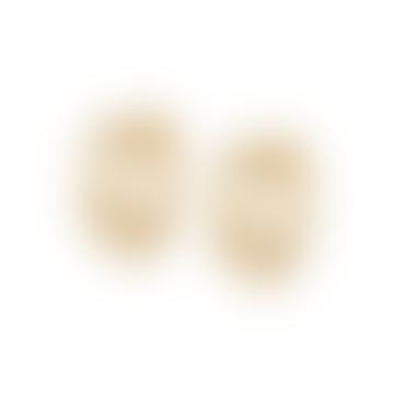 Gold Stacked Beaded Eternity Huggie Hoop Earrings