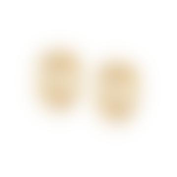 Gold Stacked Beaded Huggie Hoop Earrings