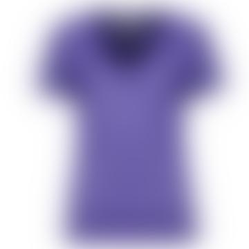 Cornflower Blue Striped Sheer Textured V-Neck T-Shirt