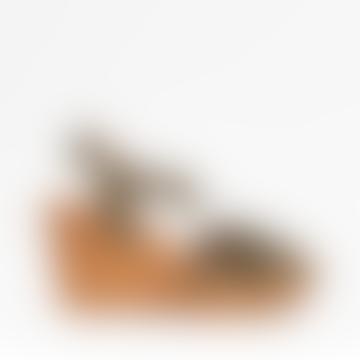 Khaki Jackie Croc Leather Wedge Clog Sandals