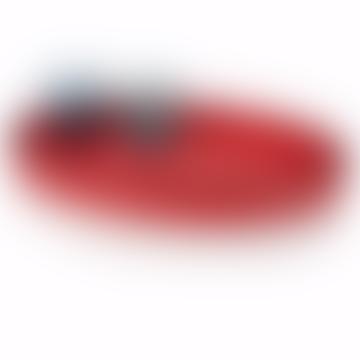 Kleine rote ovale Poloschale mit Lederbezug