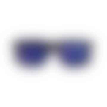 Tortoise Big One Unisex Sunglasses with Blue Mirrored Lenses