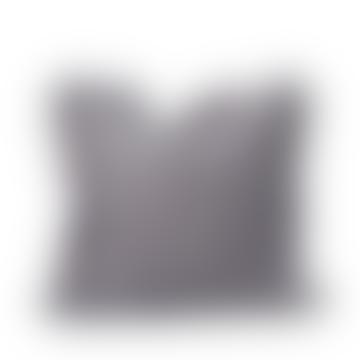 Large Pewter Grey Linen Ruffle Cushion