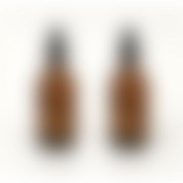Pair Of Amber Glass Travel Spray Bottles 100 Ml