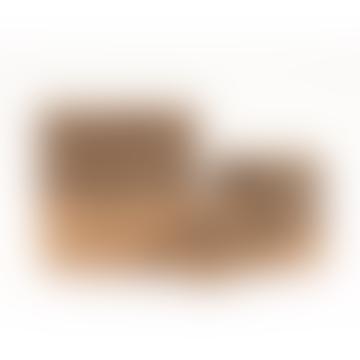 Small Thin Stripe Charcoal Black & Natural Woven Storage Basket