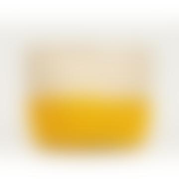 Small Yellow Colour Block Woven Basket