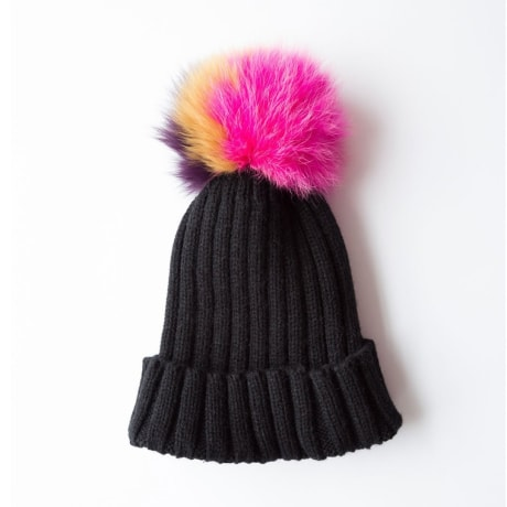 Rose   Rose Saint Gothard Black Bobble Hat With Multi Coloured Fur Pom f40d69675a2