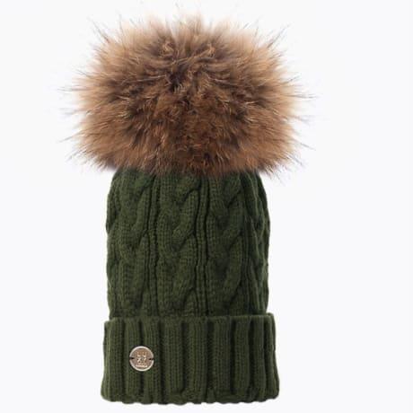 Trouva  Luxy London Khaki Natural Cable Knit Pom Pom Hat 8628dd8c9a8