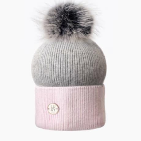 9170f7ed081 Luxy London Grey Pink Two Tone Pom Pom Hat