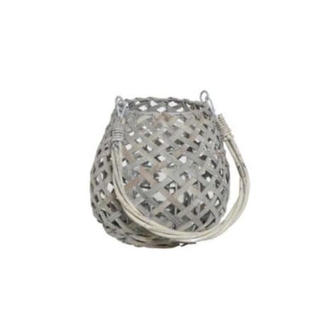 86b6357acf8e Trouva  Small Grey Wash Woven Lantern