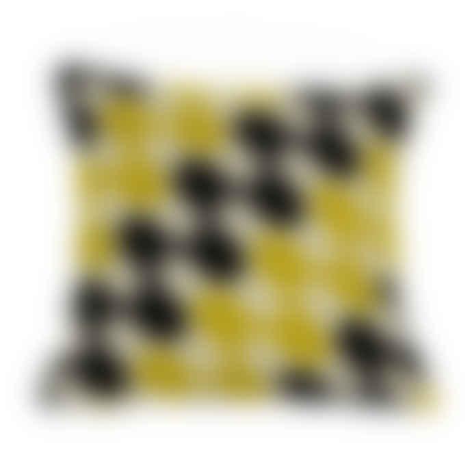 Charlene Mullen Yellow & Grey Geometric Ripple Cushion