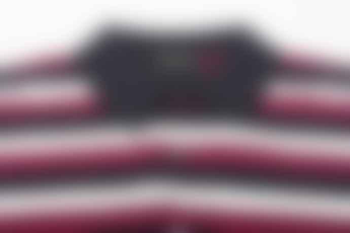 John Smedley Knots Navy Raspberry