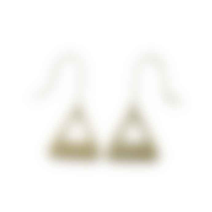 Just Trade  Small Brass Triangle Earrings