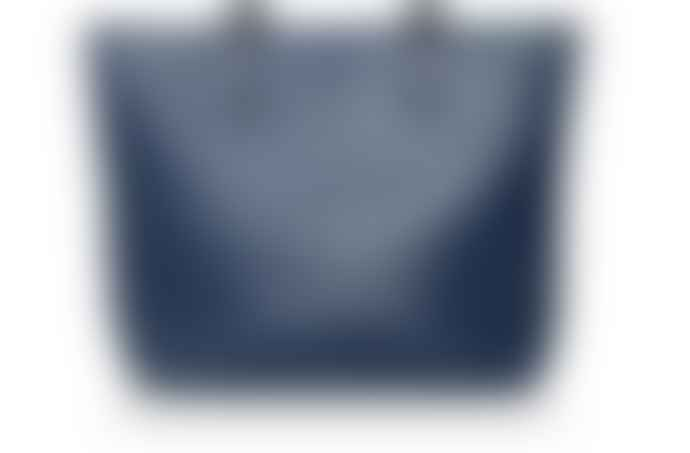 Victoria Lam Navy Leather Tote Bag With Detachable Clutch