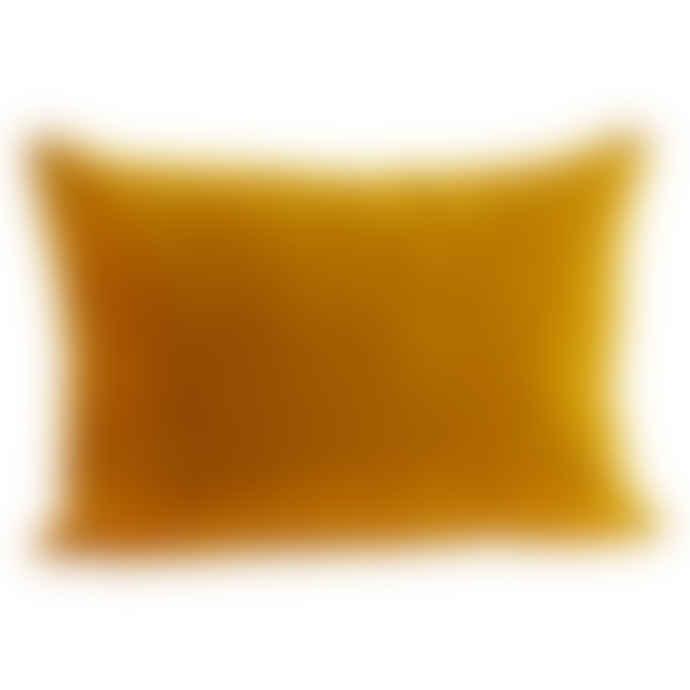 Madam Stoltz Mustard Yellow Rectangular Velvet Cushion