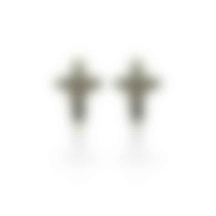 Window Dressing The Soul Silver Crucifix Stud Earrings