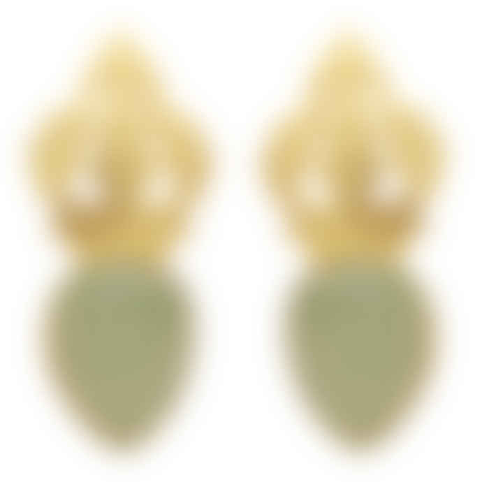 Carousel Jewels  Hand-carved Gold And Chalcedony Earrings