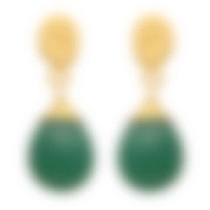 Carousel Jewels  Textured Gold Nugget And Green Onyx Drop Earrings