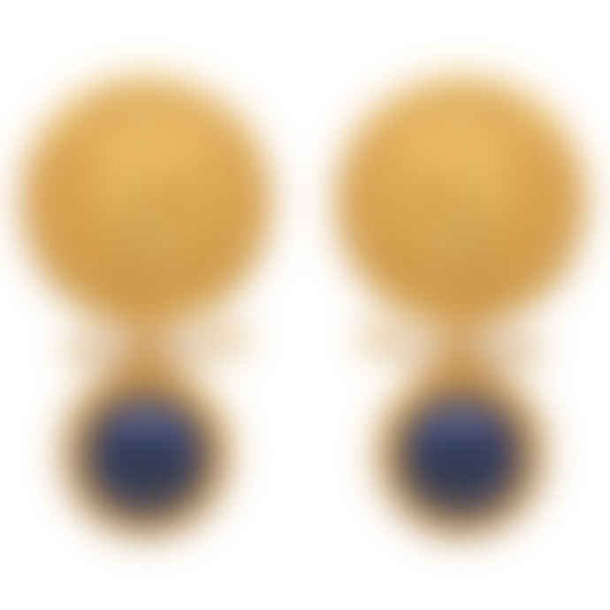 Carousel Jewels  Gold Coin, Pearl And Lapis Earrings