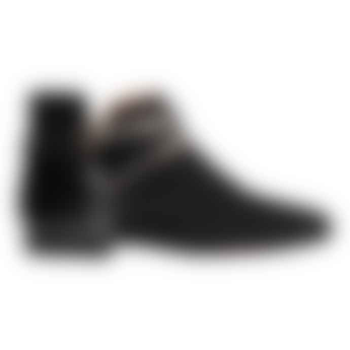 Taschka Black Suede Manchester Ankle Boots