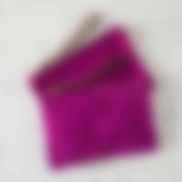 Fuchsia Pink Suede Clutch Bag