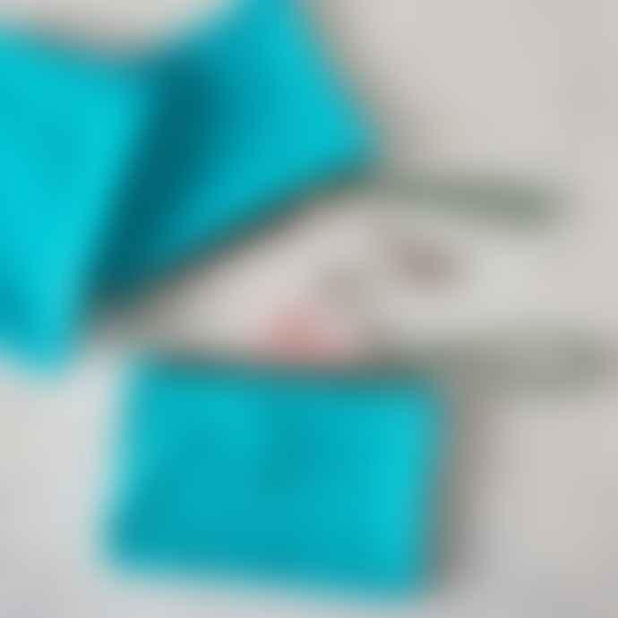 Aqua Suede Clutch Bag