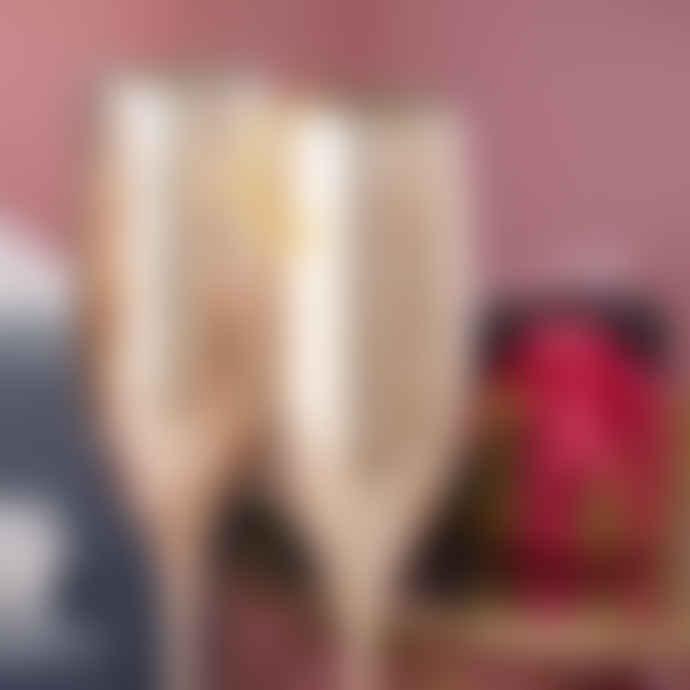Gift Boxed Rose Gold Champagne Flute Set