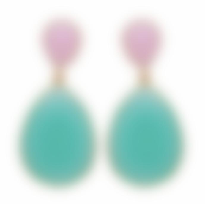 Carousel Jewels  Double Drop Rose Quartz And Aqua Chalcedony Earrings