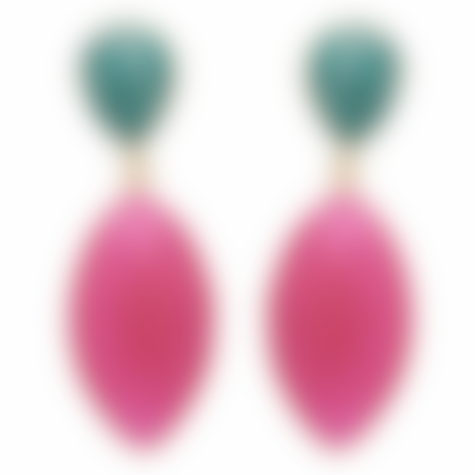 Carousel Jewels  Amazonite And Fuchsia Chalcedony Double Drop Long Earrings