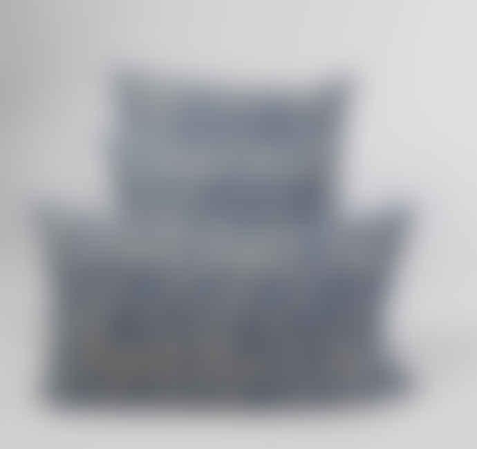 Indigo & Wills Epic Blue Pomegranate Design Linen Cushion 60x35cm