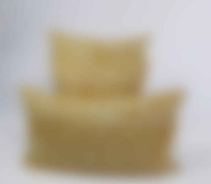 Indigo & Wills Ochre Pomegranate Design Linen Cushion 45x45cm