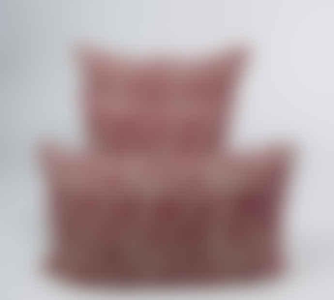 Indigo & Wills Cherry Pomegranate Design Linen Cushion 45x45cm