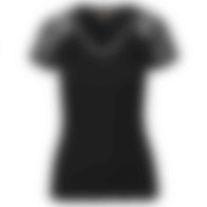 Rosemunde   Black Lace Short Sleeves V Neck Top