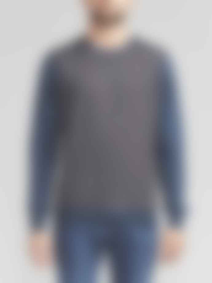 Corneliani Contrast Knit Grey Blue Crew Neck Top