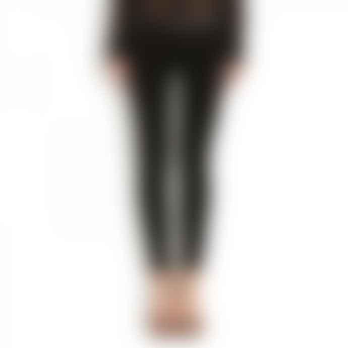 Hudson Black Leather Strip Leelou Super Skinny Crop Jeans