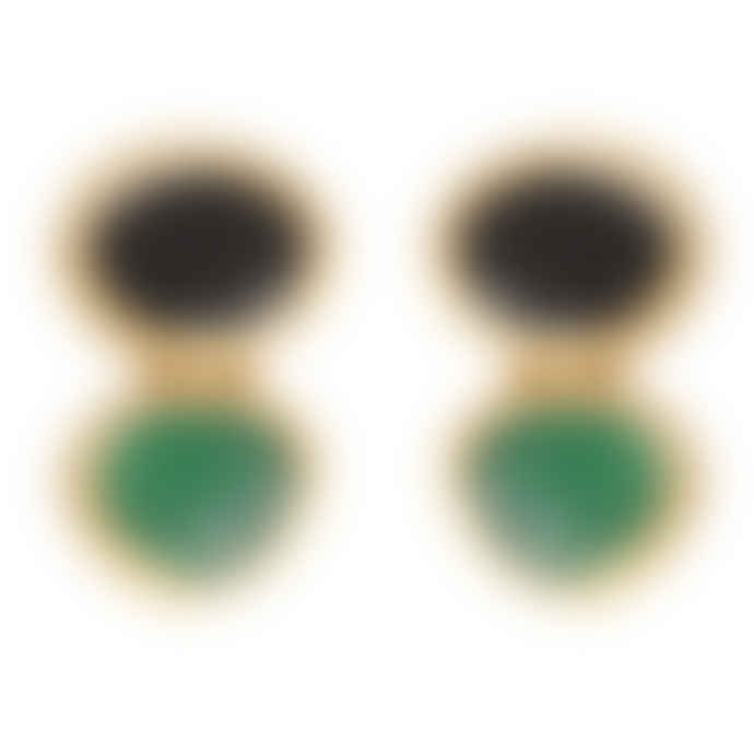 Carousel Jewels  Green And Black Onyx Drop Earrings