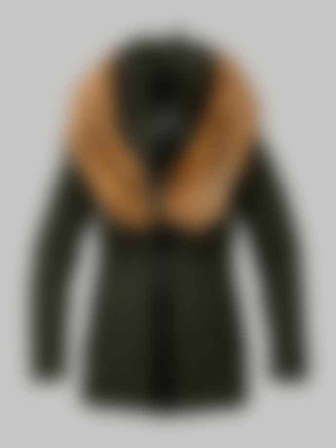 Mackage Kadalina Army Light Down Jacket With Fur Trim