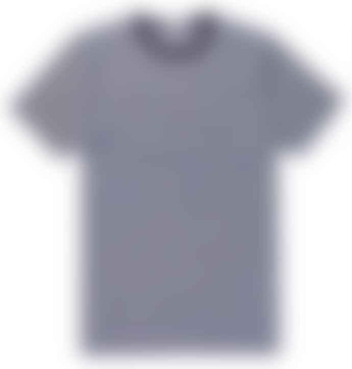 Sunspel  White Navy Q8 Short Sleeve Crew Neck English Stripe T Shirt
