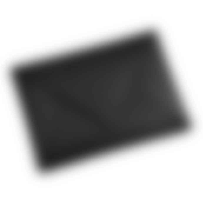 Nina Ullrich Large Black Leather Envelope Clutch