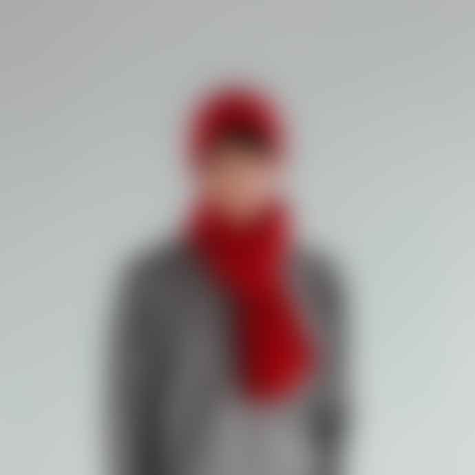Jennifer Kent Red Merino Wool Rib Scarf