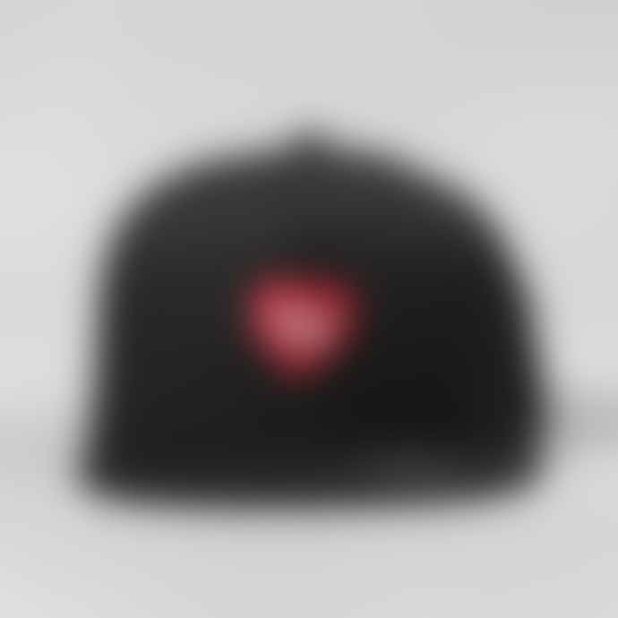 Black Pug Black Red Heart Snapback Cap