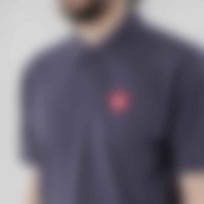 Black Pug Blue Heather Red Heart Patch Polo