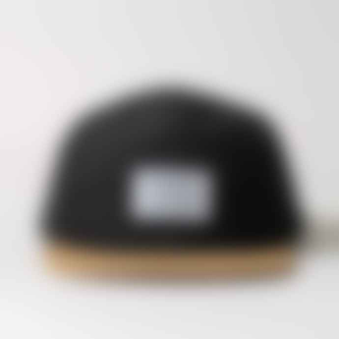 Black Pug  Black Military 5 Panel Suede Peak Cap