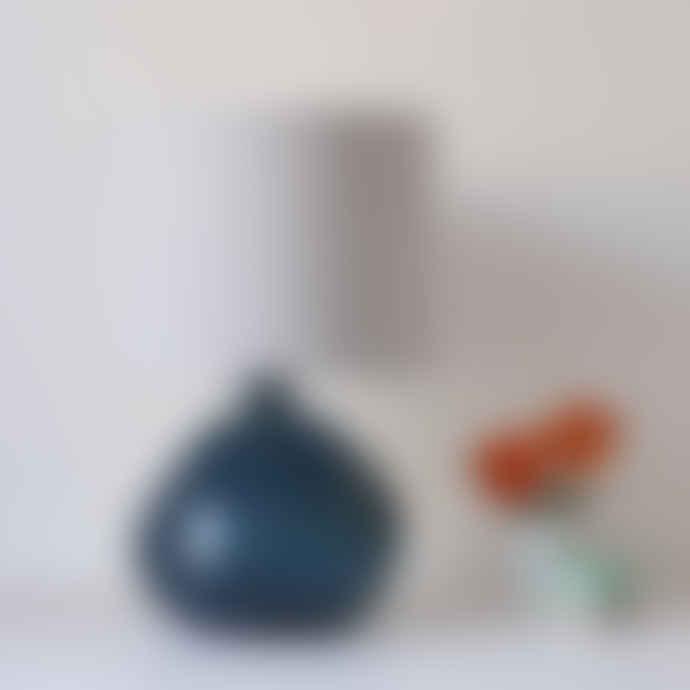 Jarapa Large Petrol Blue Recycled Glass Lamp